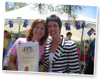 In Campbelltown NSW…Robyn was surprised to discover Vesna (from Yoram Gross Studios) was becoming an Australian Citizen that Day!