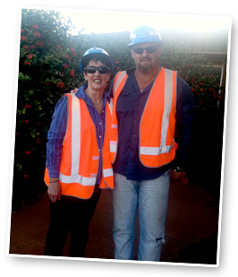 """Robyn with Todd Russell at their 5 day """"Safety Week"""" for BHP Billiton (Port Hedland)"""